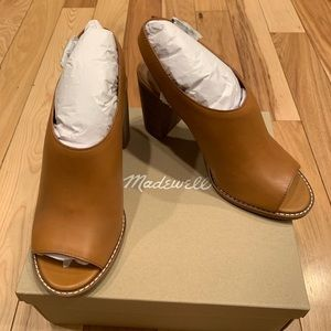 NEW madewell Cary sandal amber brown leather heels